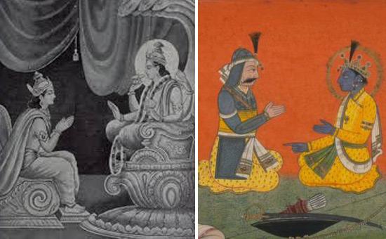 Mahabharata - Yudhishthira and Krishna - Indra & Vishnu on One Chariot