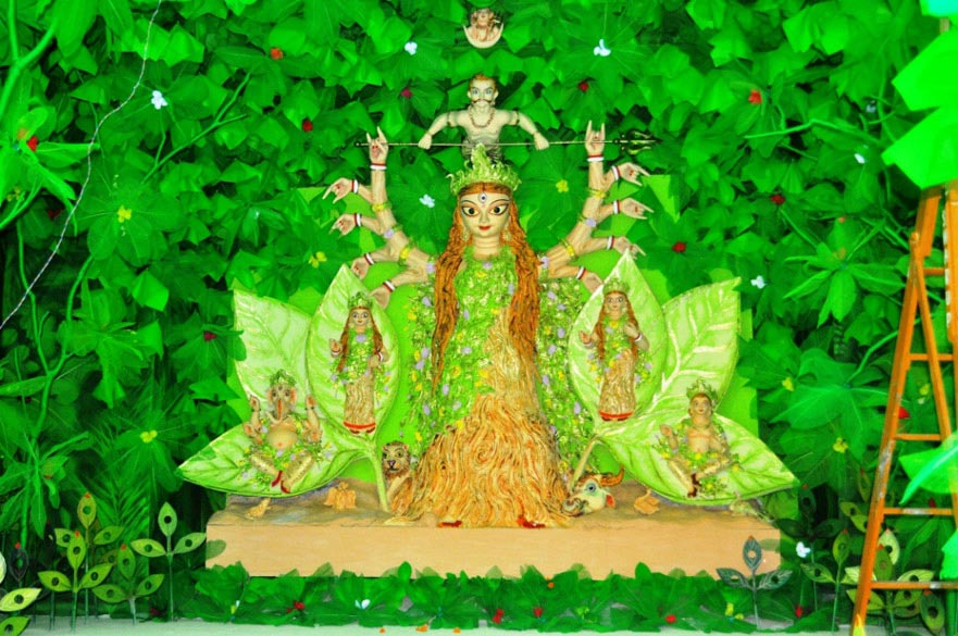 Global warming and environmental destruction are very popular themes. At Bharat Chakra, Dumdum park, the Durga idol is depicted as emerging from a tree. Durga, thus, represents the life giving power of the tree while the asuras are those that are causing environmental destruction and atmospheric pollution.