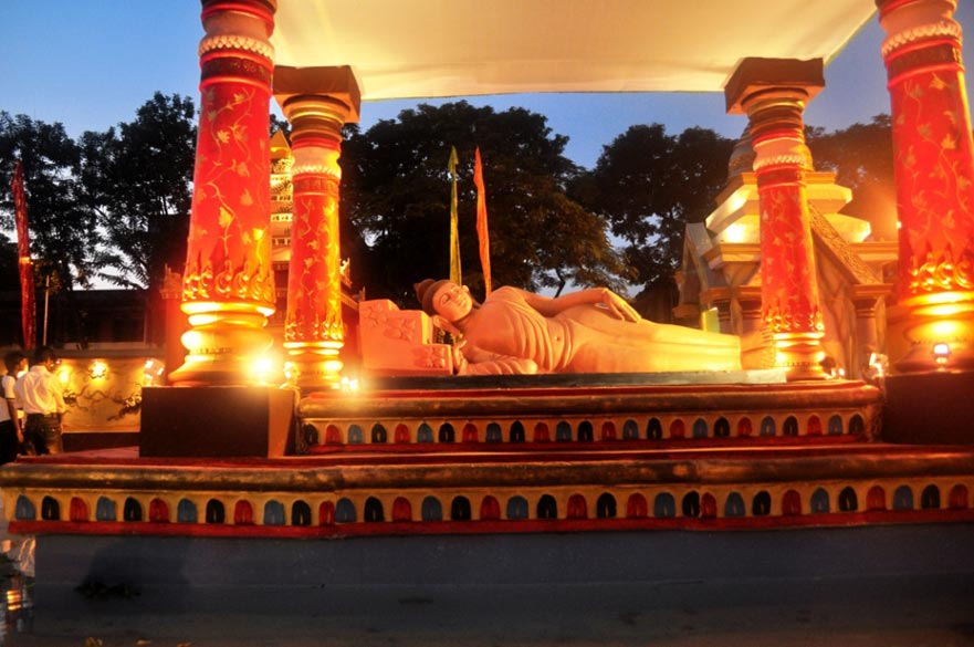 A reclining Buddha in the center of an artifical pool of water at AD Block, Salt Lake - in a manner similar to the reclining Vishnu.