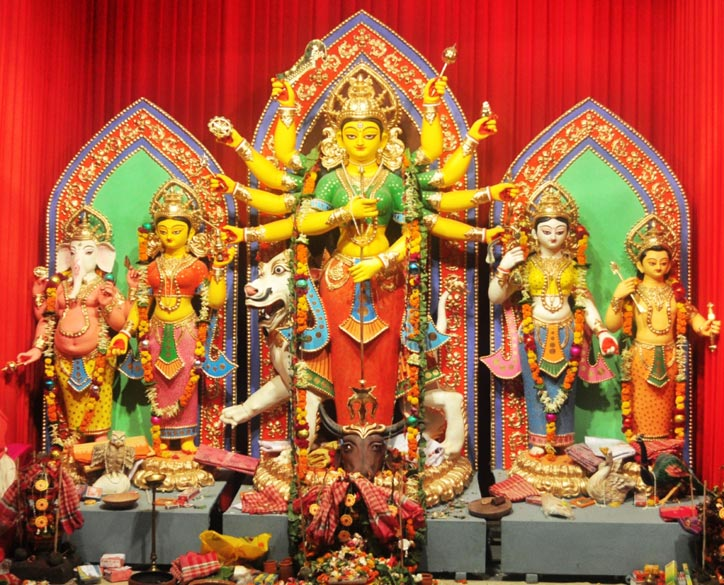 The Durga idol at AD Block, Salt Lake, incorporating Buddhist design themes.