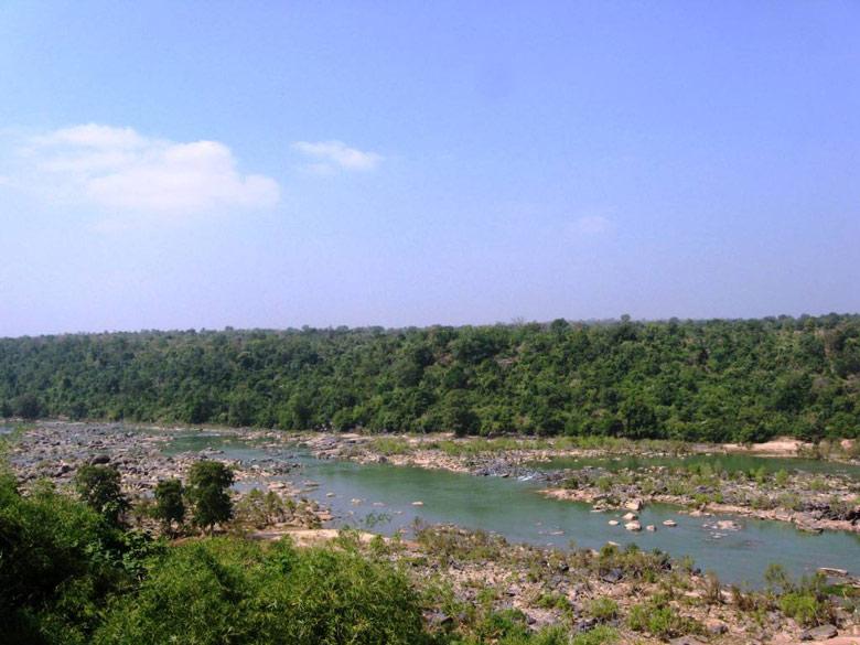 Jagdalpur Indravati river - view from resort.
