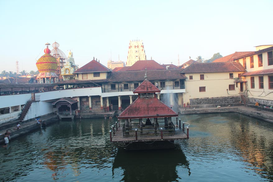 In Udupi is the holy temple of Sri Krishna and this is the birthplace of Sri Madhwacharya, founder of Dwaita Philosophy and one of the three great Acharyas. The temple tank that you see is called