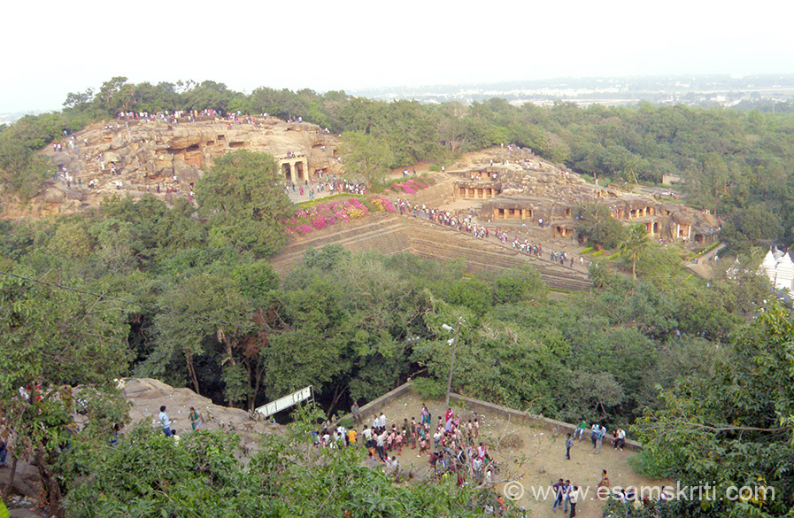 View of Udaygiri (hill of sunrise) caves from top of hill where are Khandagiri (broken hills) caves. The former 18 in nos are main caves, the latter 15 in nos not impressive. Caves primarily used by Jaina Ascetics. Caves were excavated starting 1st century B.C continued till 10-11th century A.D. The caves are essentially dwelling retreats or cells of Jain ascetics.