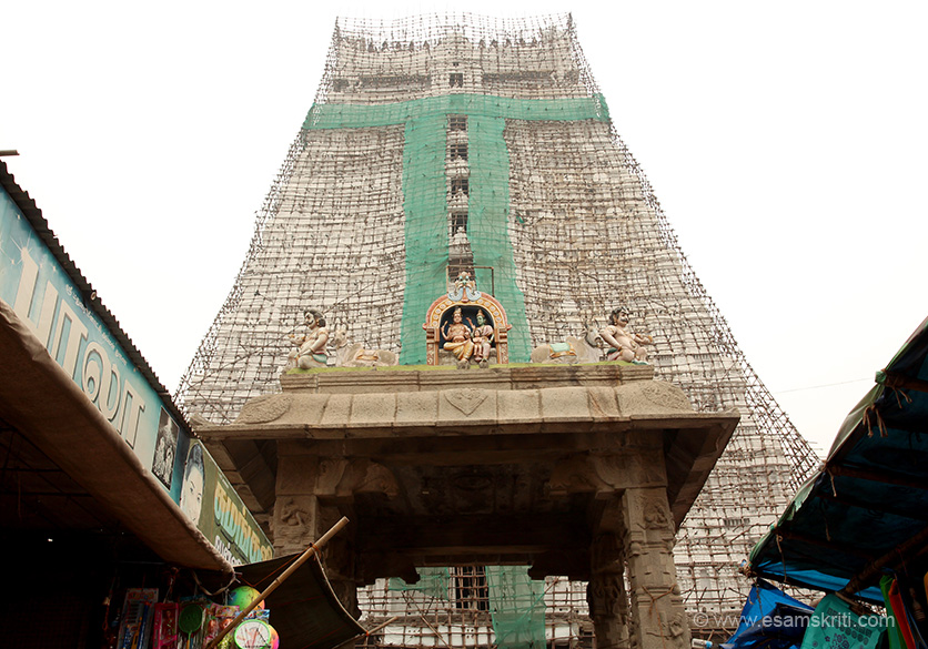 "This is called the Annamalaiyar Temple and is dedicated to Lord Shiva. View of Rajagopuram. All gopurams were being repaired and painted so covered. ""The Rajagopuram is 217 feet high