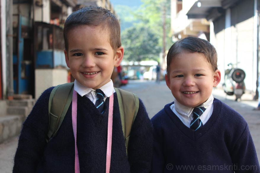 I was walking thru the Dharchula market looking for school going kids when I saw these lovely kids. The one on the right is such a sweetheart. See how school tie is tied. Reminded me of my