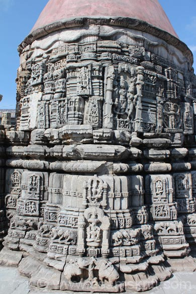 Rear side of temple carvings.
