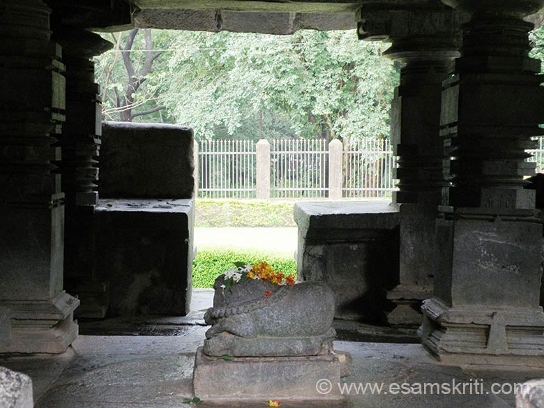 Nandi, the vehicle of Shivji. The temple is a place of active worship.