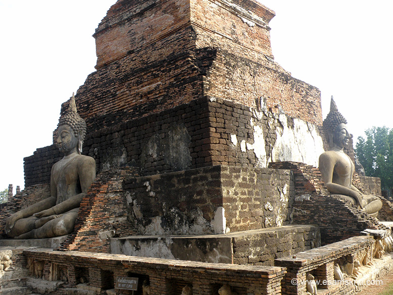 As you enter Wat Mahathat from main entrance there is a stupa with four Buddha images, you see two.