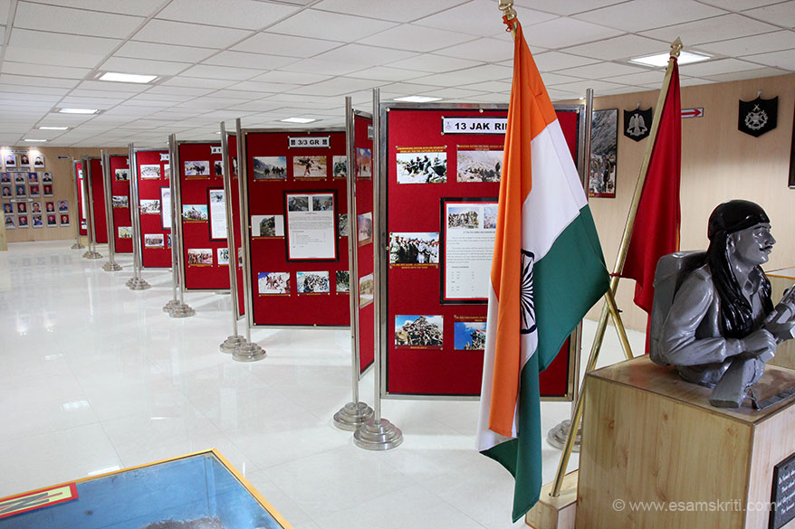Inside the gallery - pictures of armed forces during war and after capture of peaks. Bharat Mata ki Jai.