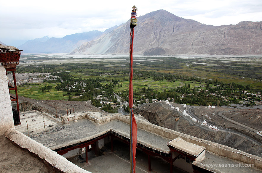 View scenic Nubra Valley from top of monastery. So happy to be there. Also visit Sand Dunes and double humped camel. Temple darshan closes at 1 for lunch. Reached about 5 minutes late.