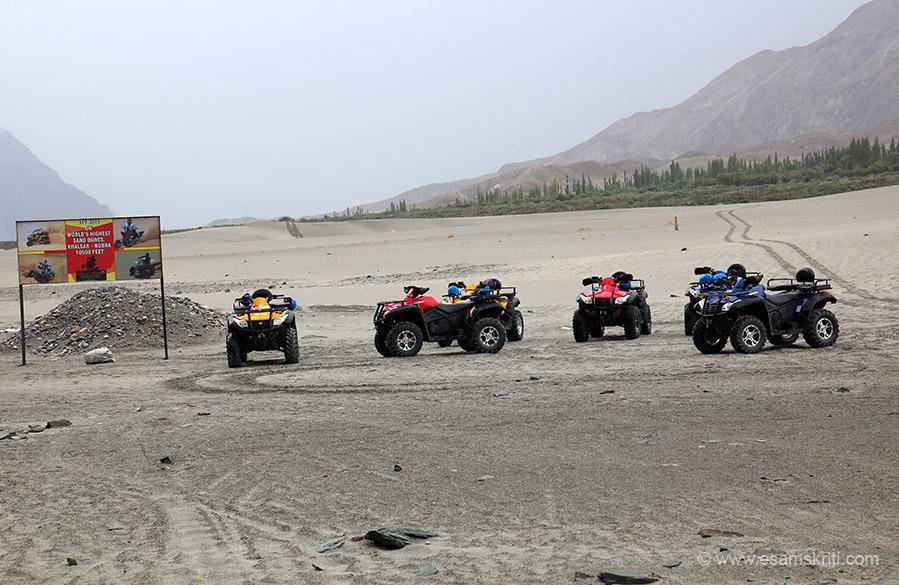 "ATV ride on world``s highest sand dunes at Khalsar-Nubra 10,500 feet. To see pic of Sam dunes near Jaisalmer <a href=""http://www.esamskriti.com/photo-detail/Sam-Dunes.aspx"" target=""_blank"">Click here</a>"