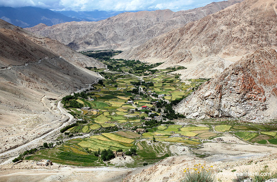 From here we drove uphill to Changla Pass. View of village as we gained height.