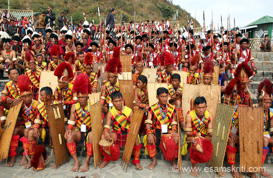 Members of Pochury tribe waiting for their chance to perform at the Hornbill Festival. Dances of this warrior tribe are U-HA, HO-WA, OH-HIA.