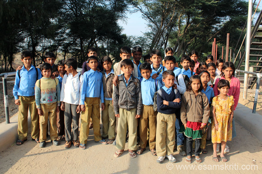 Along the Indira Gandhi Canal met these school children. So full of energy, wanted to be clicked and the world to see their picture. In simple language there are various outlets from the canal so that water goes to distant areas as well. U can see them when we upload pic collection on canal.
