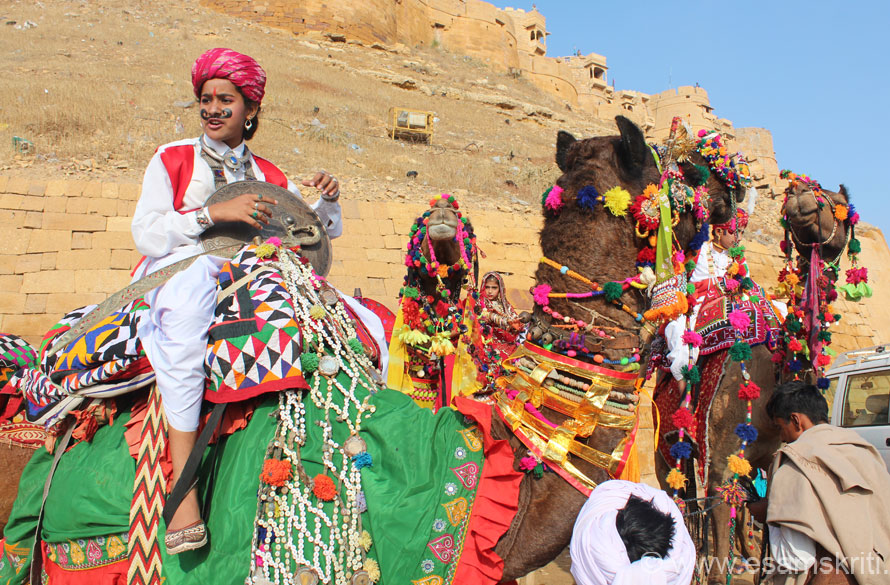 Day 1 of the Jaisalmer Desert Festival had many young and smart men on camels in their brightest and best. U see fort wall on north eastern side of fort. Note flood light in centre of pic
