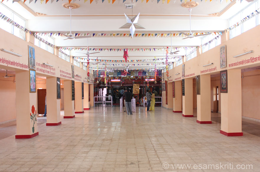 Inside the temple. Has a huge hall that you see which must be useful when number of devotees increase.