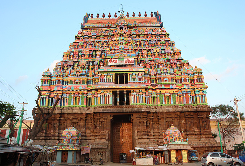 "East facing gopuram - early morning rays.  "" Abishek is not performed to Lord Thiagaraja but to the Maragatha Linga (precious emerald Linga known as Veedhi Vidanga Linga believed to have been worshipped earlier by Indira)."""