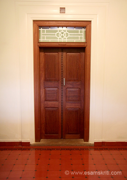 Typical entrance door - notice the tiling.
