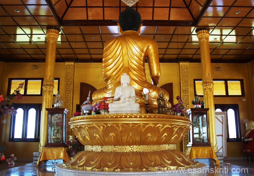 "Rear side view of Buddha image. To see pics of Bodh Gaya Mandir <a href = ""http://www.esamskriti.com/photo-detail/Bodh-Gaya-Temple.aspx"" target = ""_blank"" > Click here </a>"