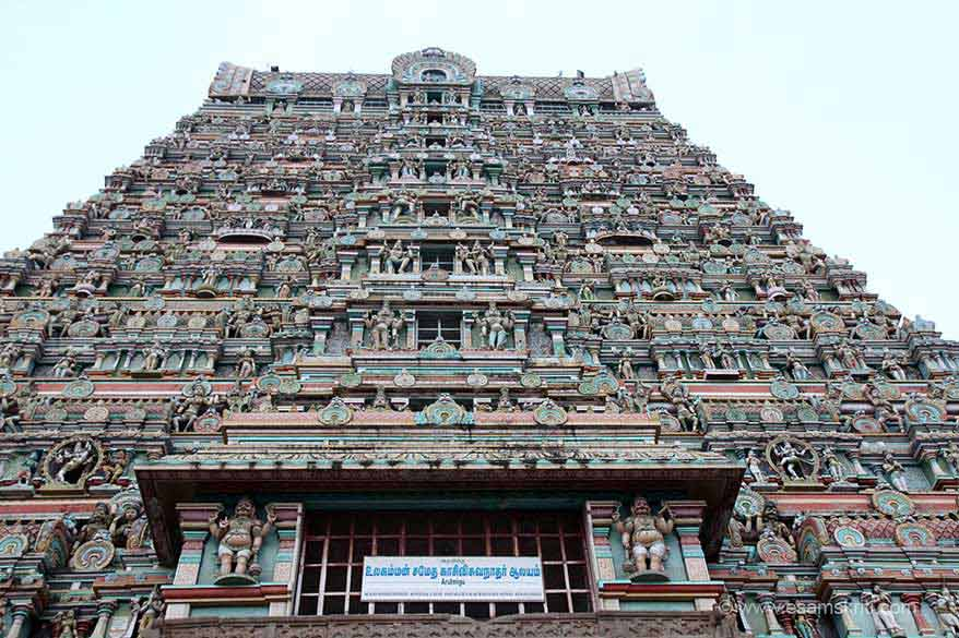 Close up centre part of gopuram. Very imposing structure.
