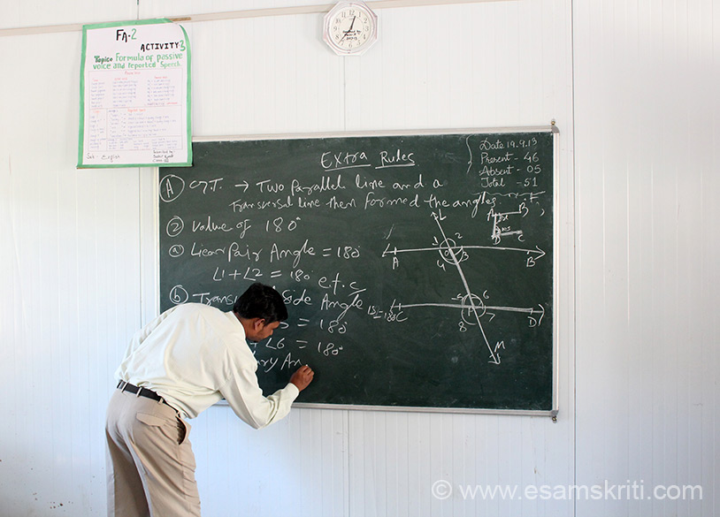 Looks like a Maths class a subject that goes over my head. I was impressed with the way teachers, just like how we learnt in Mumbai.