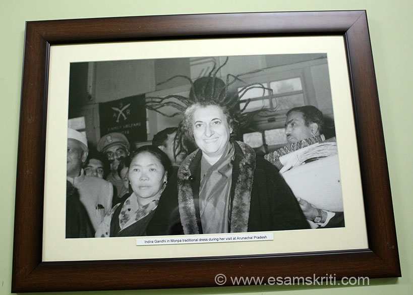 Former Indian Prime Minister Smt Indira Gandhi in Tawang in traditional Monpa tribe dress.
