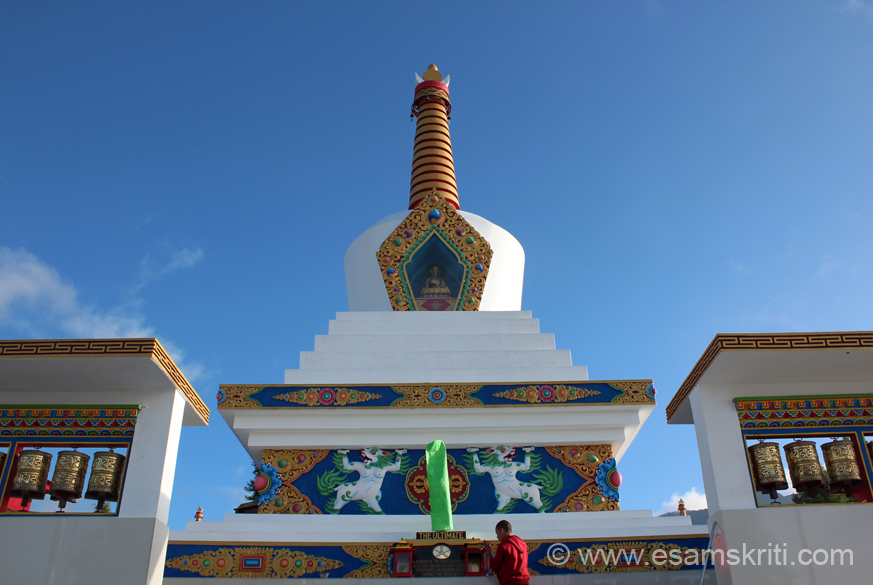 "A closer view of the chorten. There is a Buddha image in the centre. On either side of entrance is Mana Prayer Wheel. To see pics of the Raniket War Memorial in Kumaon, Uttaranchal. <a href = "" http://www.esamskriti.com/photo-detail/War-Memorial-Raniket.aspx "" target = ""_blank "" > Click here </a>"