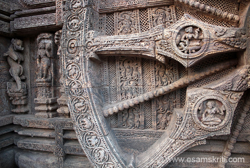 Close up view of wheel. Right has images of two ladies. Border of wheel has images of various animals like deer, elephant and birds. The themes of sculptures may be classified into deities, musician-nymphs of the celestial spheres, secular sculptures, birds/beats etc, architectural motifs/pilasters/chaitya windows etc and purely decorative patterns woven out of floral and geometrical motifs.