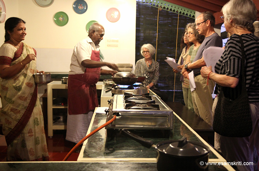 "Master Chef Karuppiah conducting a cooking demo of the famous Chettinad food for guests. Rooms are available in heritage and new blocks. Loved the place. To know about Chettinad cuisine <a href="" http://www.thebangala.com/cuisines.html"" target=""_blank"">Click here</a>"
