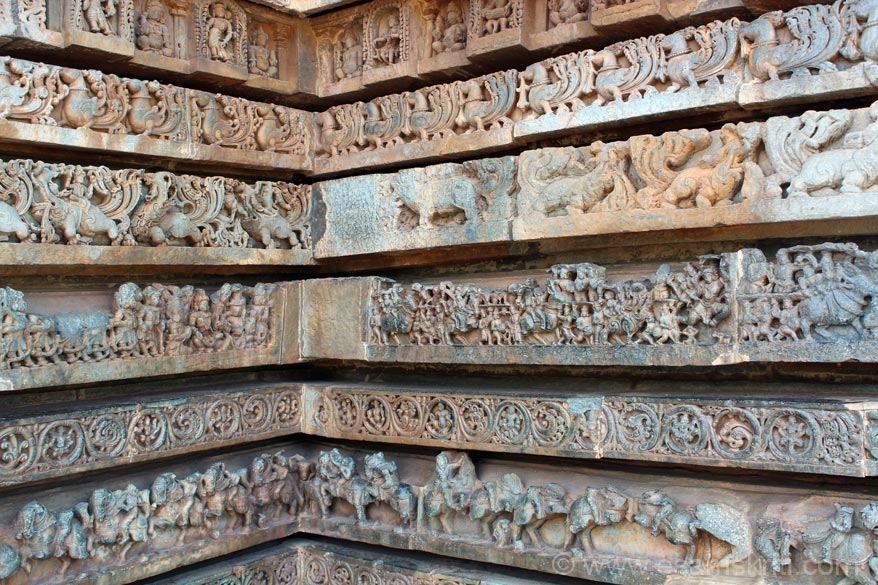 Part panel. The pic shows u stages of carving. See level 4 ie mythical animal left to right. First image is plain stone, second is with some work, third is final. Bottom up level one is horse, 2