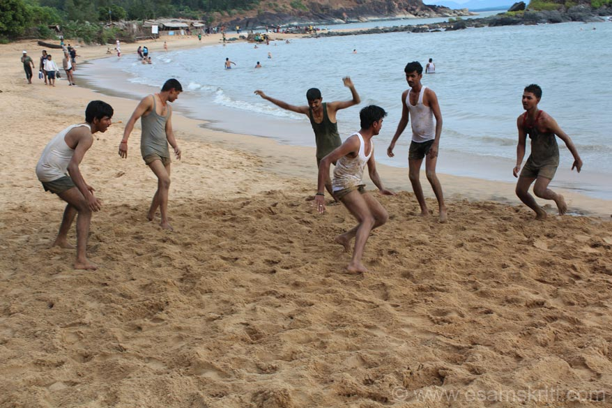 Kabadi is a great game to play on the sand. Here is game in brief. A huge square is divided into parts one for each team. Member of one team runs into the other part saying the words Kabadi