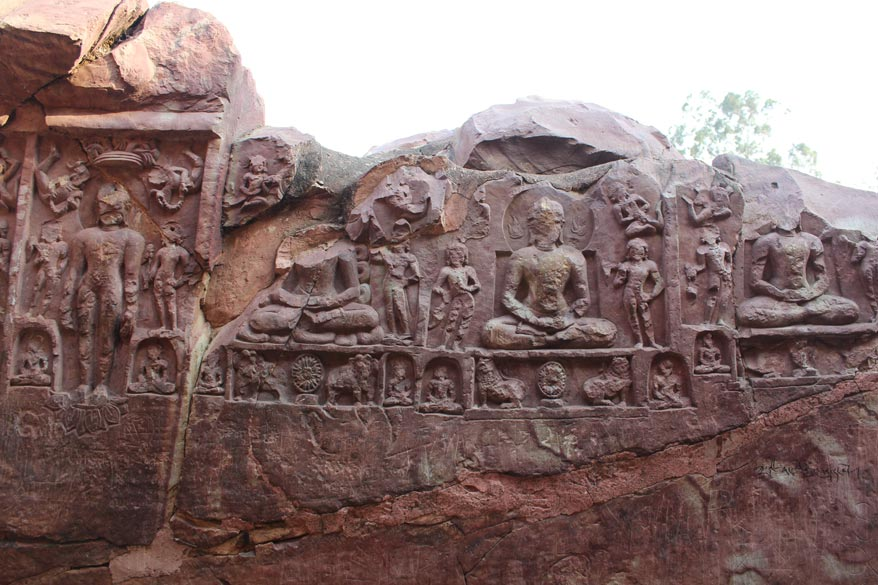 On left of the cave are remains of a temple. U can see images have got damaged with time. Images are in meditation pose and of Jain sages.