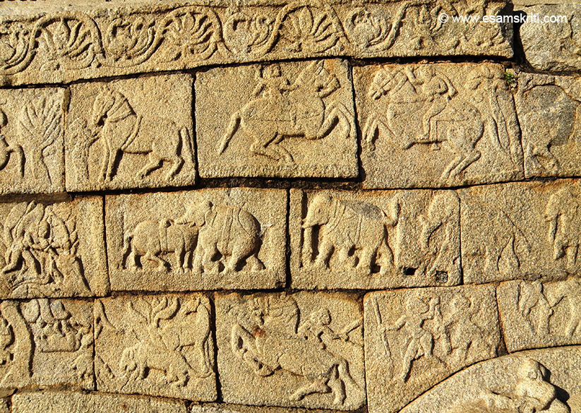 A close up of the relief. U see horse riding, elephant fights etc. In phase 2 a neatly dressed and moulded plinth in 2 tiers was constructed over the platform. Platform was decorated with panels depicting elephants, geese, dancers, musicians, medalions and miniature shrines.