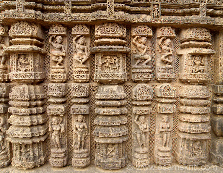 Pic is the same as earlier one except that it was taken early morning. Note the difference. Lower level are miniature representations of temples with khakhara mundis (wagon vaulted roofs). Lady playing dholak and in dancing pose.