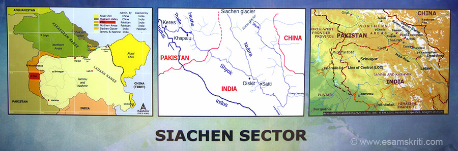 Map on left gives you an idea of where Siachen Glacier lies. To its left is Shaksam Valley, part of J&K in 1947, gifted by Pakistan to China in 1963 area 5180 sq kms. In Yellow is Aksai