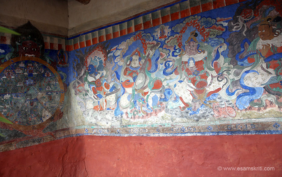 "Frescos outside entrance. ""The prayer hall of the monastery consists of a statue of Maitreya Buddha, various images of other guardian gods as well as huge drum. """
