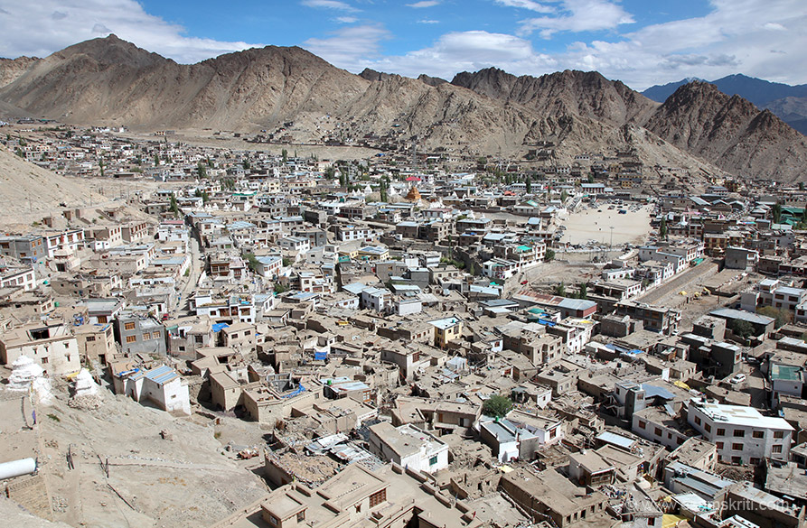 Get an excellent view from the palace. A view of Leh. It is a bustling town with tourists from all over. Besides Indians met tourists from Argentina, Yugoslavia, Australia and Italy.