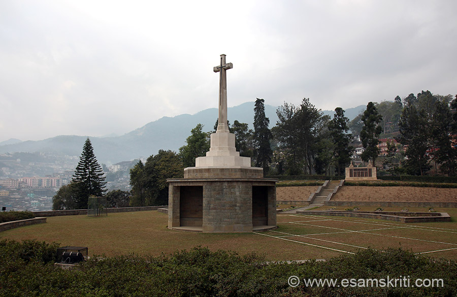 "Area that you see outlined by white powder ``lie men who fought in the battle of Kohima in which they and their comrades halted the invasion of India by the forces of Japan in April 1944``. To see pics of India Peace Memorial built by the Japanese ie about 16 kms from Imphal  <a href=""http://www.esamskriti.com/photo-detail/Loktak-Lake.aspx"" target=""_blank"">Click here</a>"