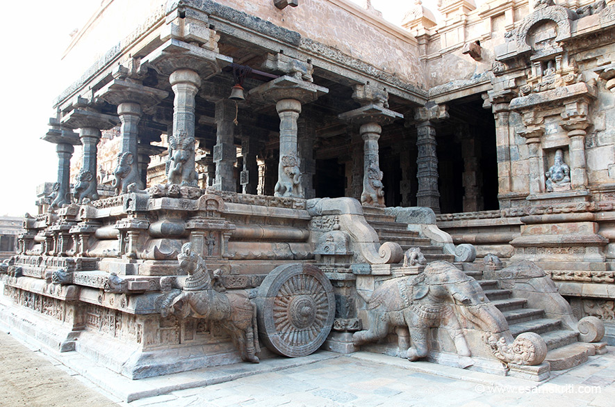 "Design is of a horse with wheel of the chariot of the Muhamandapam. ""Though much smaller in size when compared to the Brihadisvara temple at Tanjavur and Gangaikondacholapuram, this temple is different as it is highly ornate in execution. """