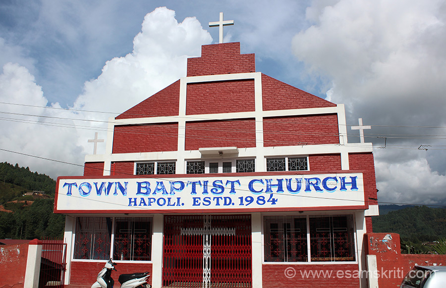 "A few kms from Ziro is Hapoli where you see this church. To visit site of Arunachal Baptist Church Council <a href=""http://www.cbcnei.in/index.php/conventions/arunachal-baptist-church-council"" target=""_blank""> Click here </a>"
