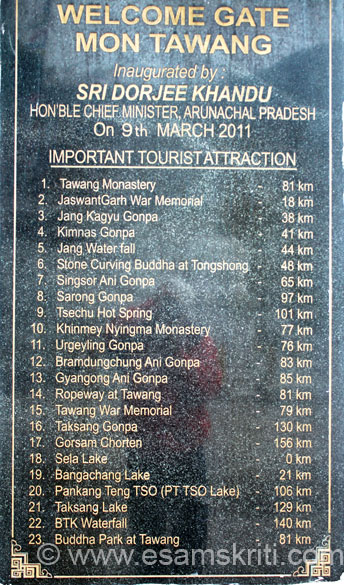 This board tells you what to see in Tawang.