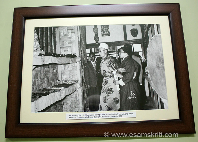 "His Holiness Dalai Lama looks at one of the craft emporiums in Dirang in 1959. Sela Pass is the entry point to Tawang or the area where Tibetan Buddhism is practiced. To see pics of Sela Pass <a href=""http://www.esamskriti.com/photo-detail/Sela-Pass.aspx"" target=""_blank""> Click here </a>"