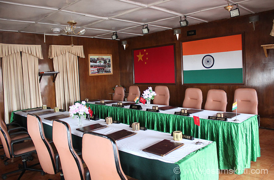 Inside room where the India China Border Meetings take place. Once meeting is held on Indian side and the next time Chinese side. Got to know the facility for meetings on the Indian side is 