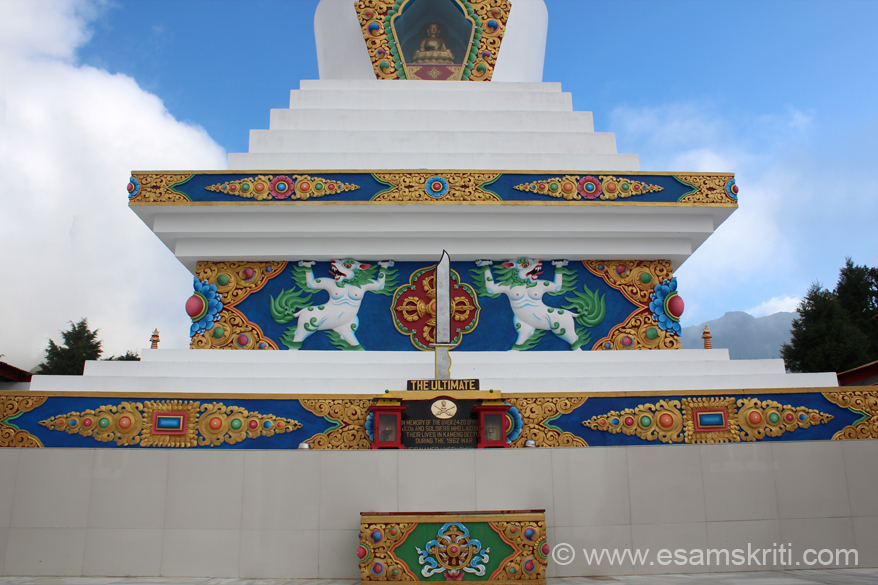 A close up of the lower view of the chorten - to give you an idea of the Buddhist design.
