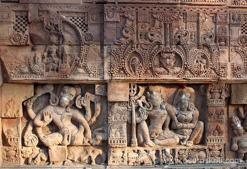 Lower relief right side is Shiva n Parvati. Left side could be six hands of Vishnu.
