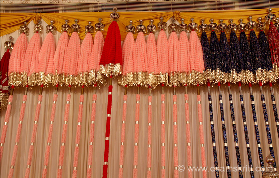 On display different designs and colors of umbrellas (kuda). One of the attractions of Thrissur Pooram is the different types of umbrellas.