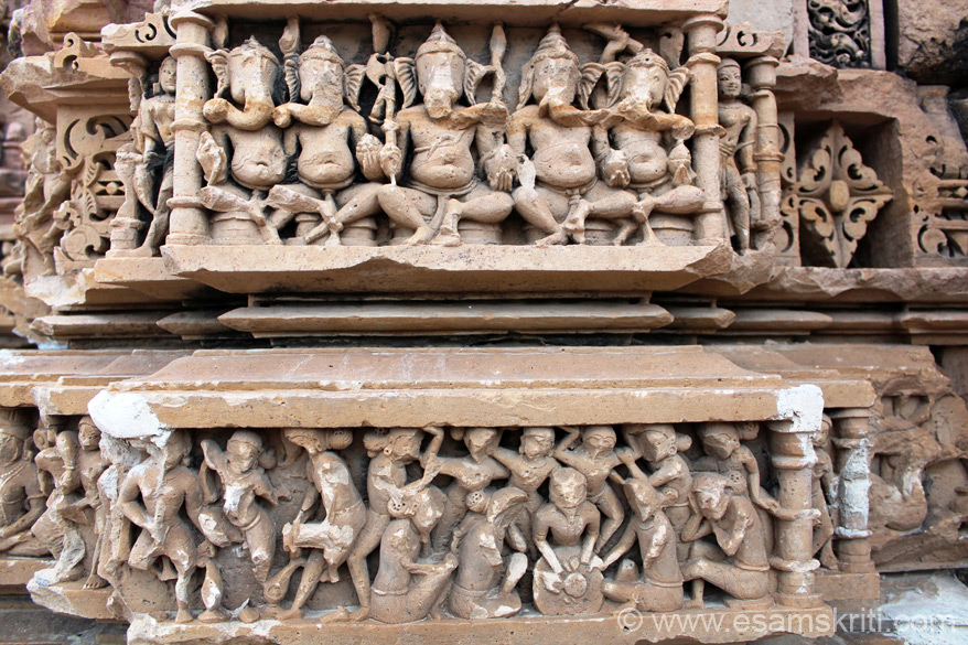 Now for some close ups of temple sculptures. Top is rows of Ganeshas. Bottom not sure. Some have their hands up as if carrying something or supporting a stone. Some are sitting down
