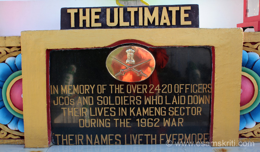 This memorial is dedicated to the 2,420 Jawans, JCO``s, Officers who laid down their lives in the Kameng sector during the 1962 war. Nobody believed we had killed so many Chinese at Rezang La.
