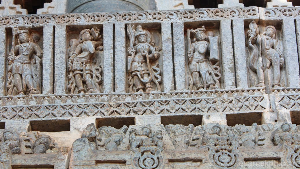 Left of pic is Sainik or soldier. Also has pics of dancers. More tourists in Belur than Halebidu. Hoyasala means killing a tiger. Hoy means to kill, Sala is the boys name who killed a tiger at the 