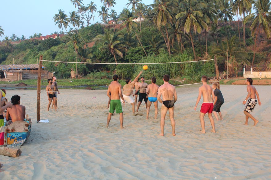 Others playing volleyball.